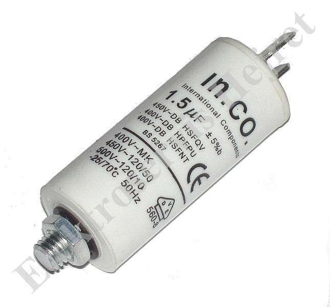 Kondenzátor 1,5uF, 400 - 500V se šroubem, vývod faston