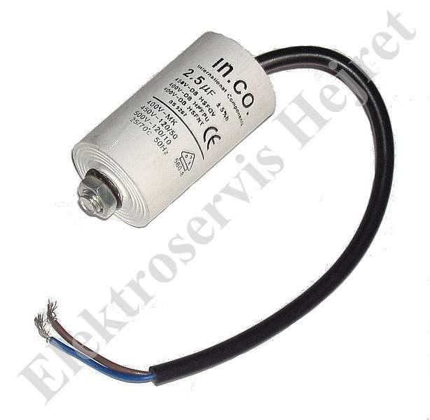 Kondenzátor 2,5uF, 400 - 500V se šroubem, vývod lanko