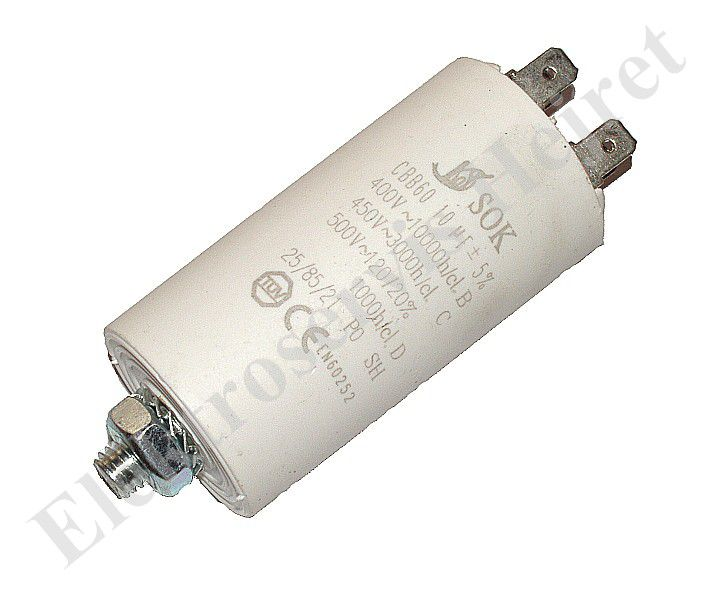 Kondenzátor 10uF, 400 - 500V se šroubem, vývod faston
