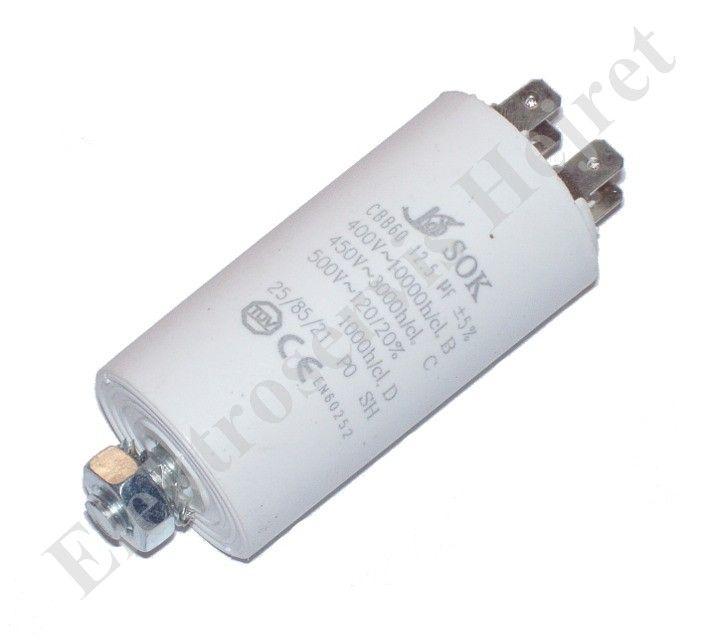Kondenzátor 12,5uF, 400 - 500V se šroubem, vývod faston