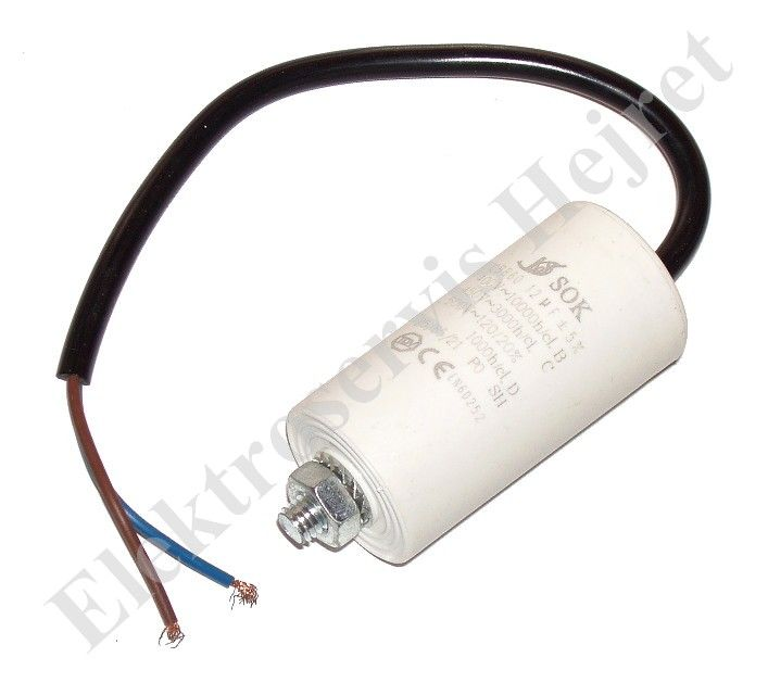 Kondenzátor 12uF, 400 - 500V se šroubem, vývod lanko