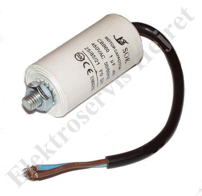 Kondenzátor 1uF, 400 - 500V se šroubem, vývod lanko