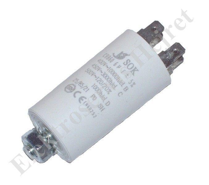 Kondenzátor 6uF, 400 - 500V se šroubem, vývod faston