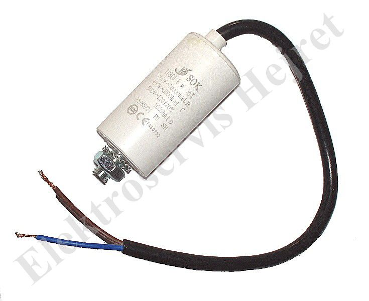Kondenzátor 6uF, 400 - 500V se šroubem, vývod lanko