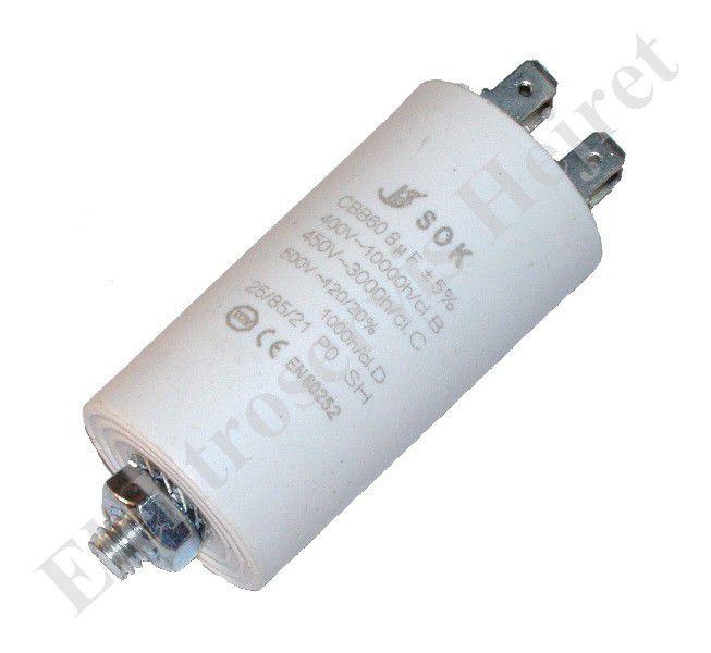 Kondenzátor 8uF, 400 - 500V se šroubem, vývod faston
