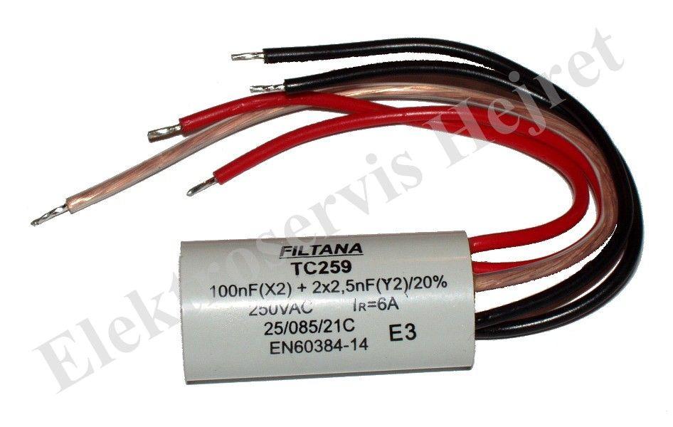 Odrušovací filtr TC259 100n+2x2n5 250V 6A